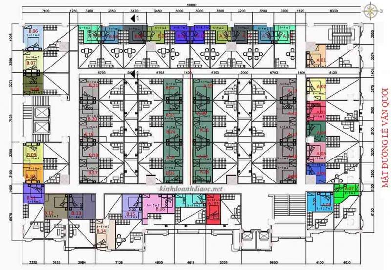 Mặt bằng chi tiết căn hộ 9X Golden Stella đường Lê Văn Quới (lửng lầu 2-5)