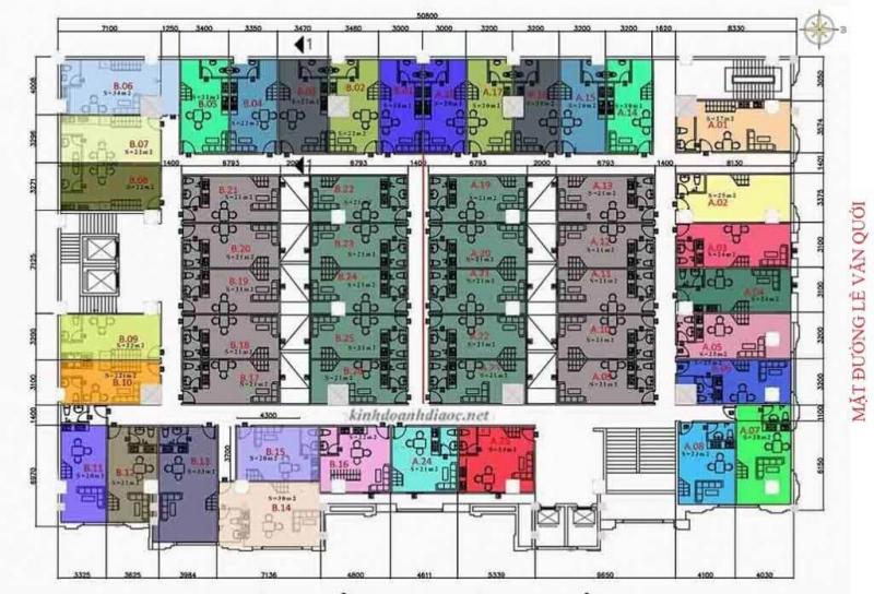 Mặt bằng chi tiết căn hộ 9X Golden Stella đường Lê Văn Quới (trệt lầu 2-5)