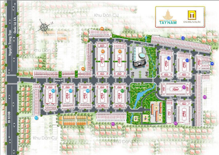 Sơ đồ mặt bằng phân lô chi tiết dự án Tây Nam Center - Tây Nam Land