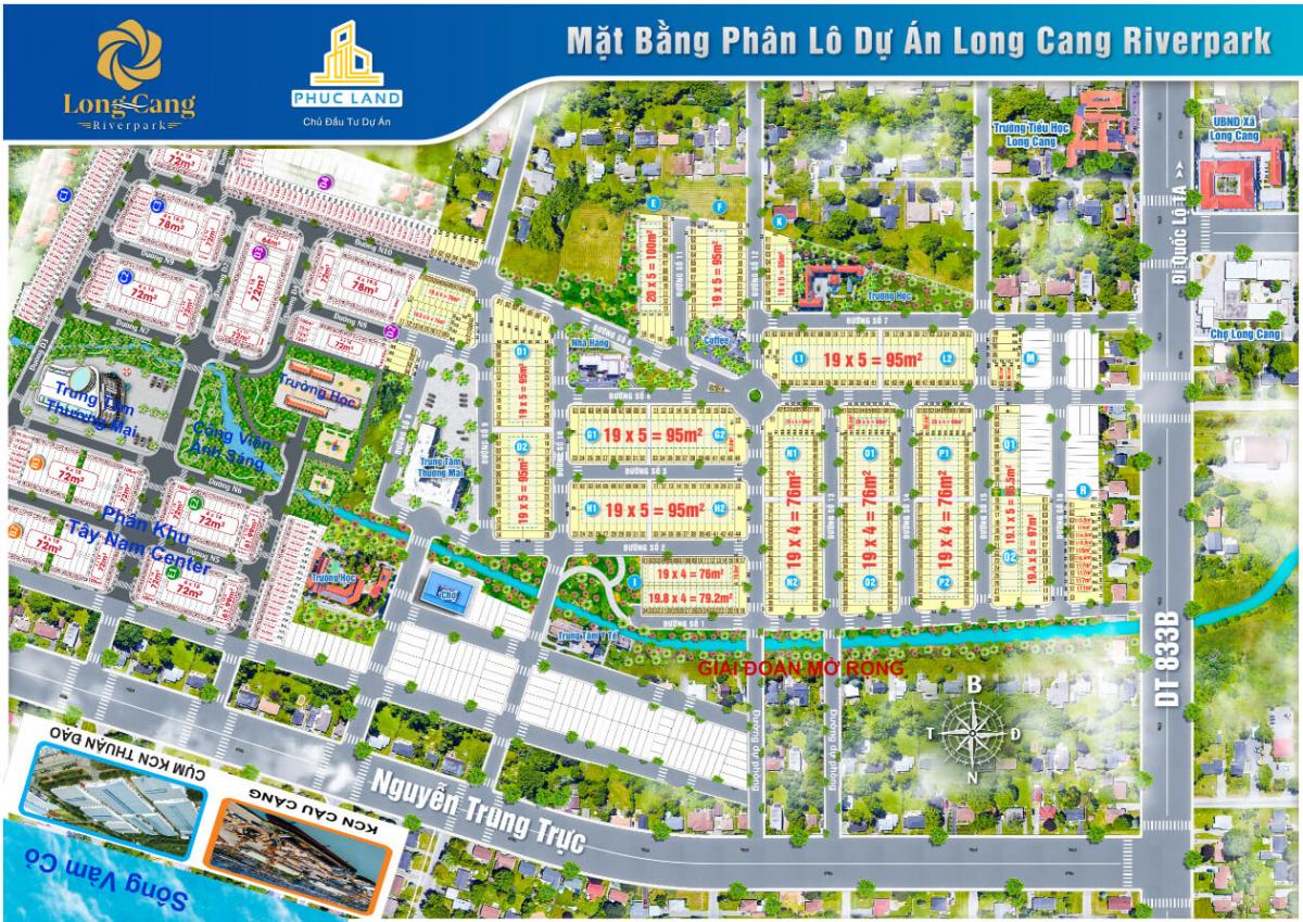 Sơ đồ phân lô chi tiết dự án Khu Đô Thị Long Cang Riverpark