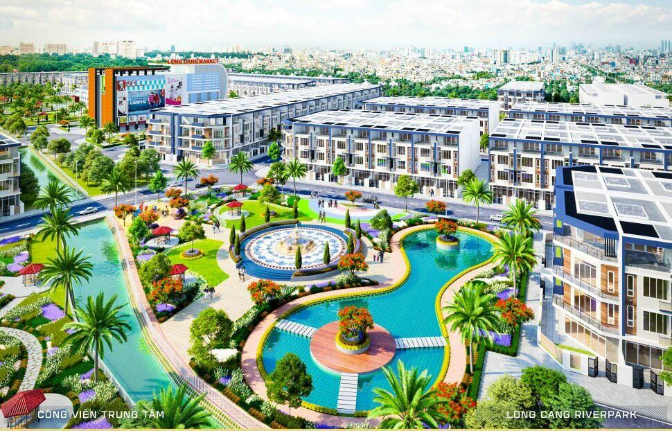 Phúc Land - Phối cảnh 3D công viên trung tâm 5.000m2 tại khu đô thị sinh thái Long Cang Riverpark