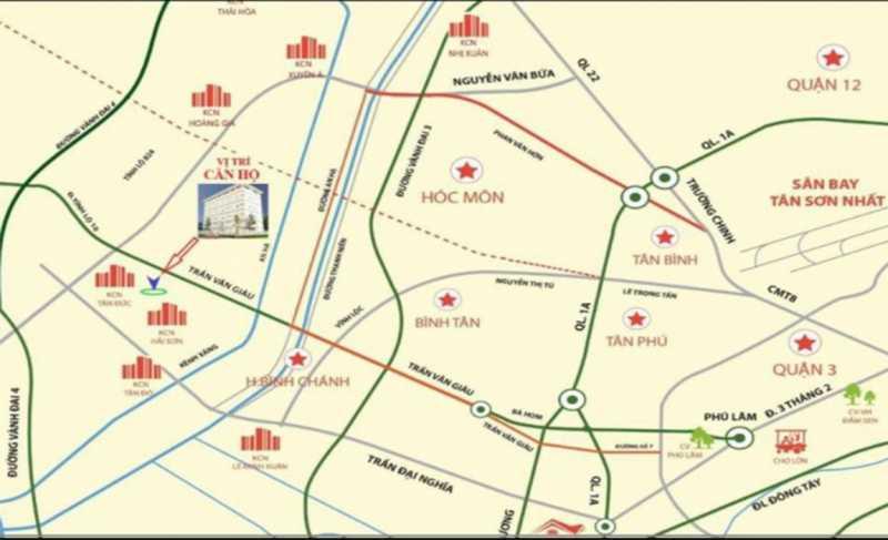 Chung Cư Tân Đức nằm tại KDC Tân Đức và cách trung tâm TP. Hồ Chí Minh chỉ 40 phút di chuyển.
