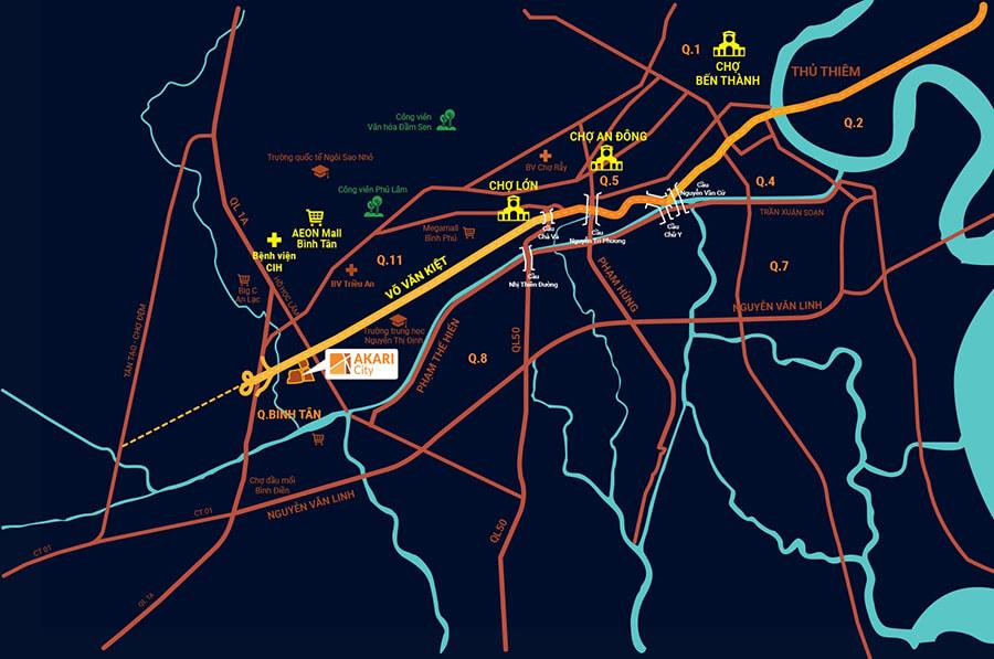 Sơ đồ vị trí dự án Akari City mặt tiền đại lộ Võ Văn Kiệt