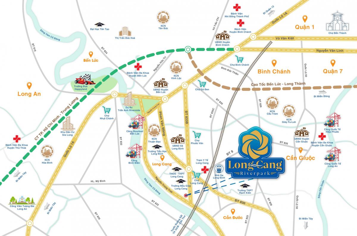 Sơ đồ vị trí dự án khu đô thị Long Cang Riverpark - Cần Đước - Long An