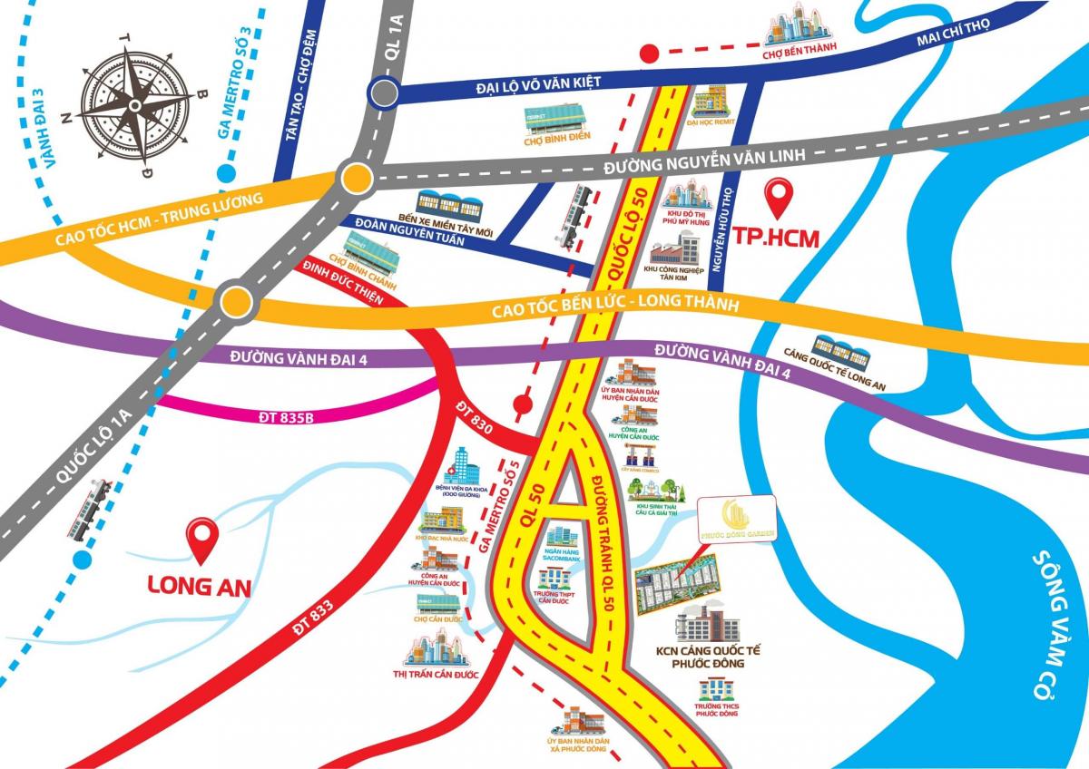 Sơ đồ vị trí dự án Phước Đông Garden mặt tiền quốc lộ 50