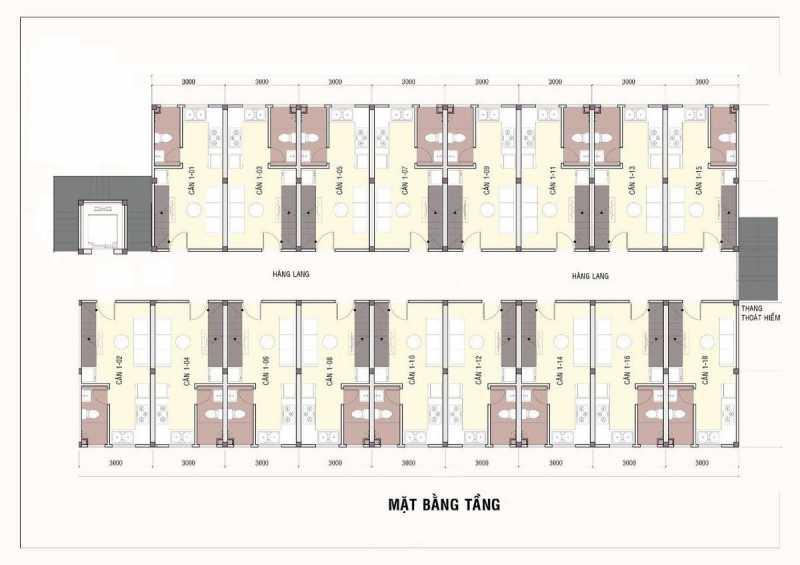Mặt bằng tầng điển hình căn hộ mini Tân Đức tại KCN Tân Đức, thị trấn Đức Hòa.