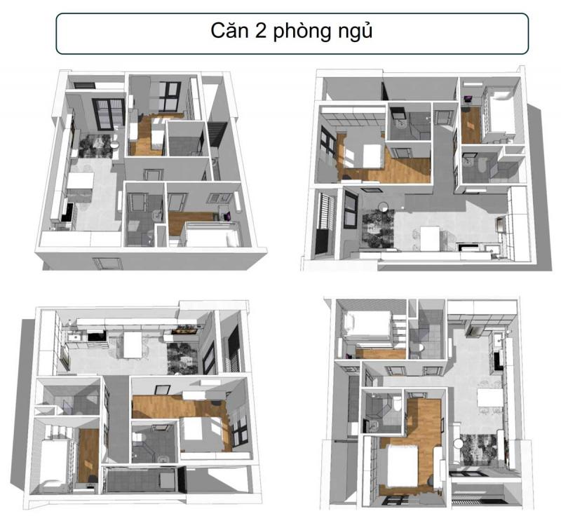 Thiết kế 3D căn hộ 2 phòng ngủ, 2 toilet dự án Phúc Đạt Tower Bình Dương